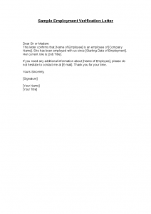 employee verification letter sample employment verification letter