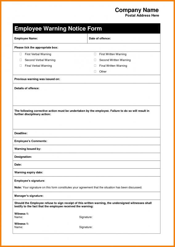 Warning Letter Template For Absenteeism