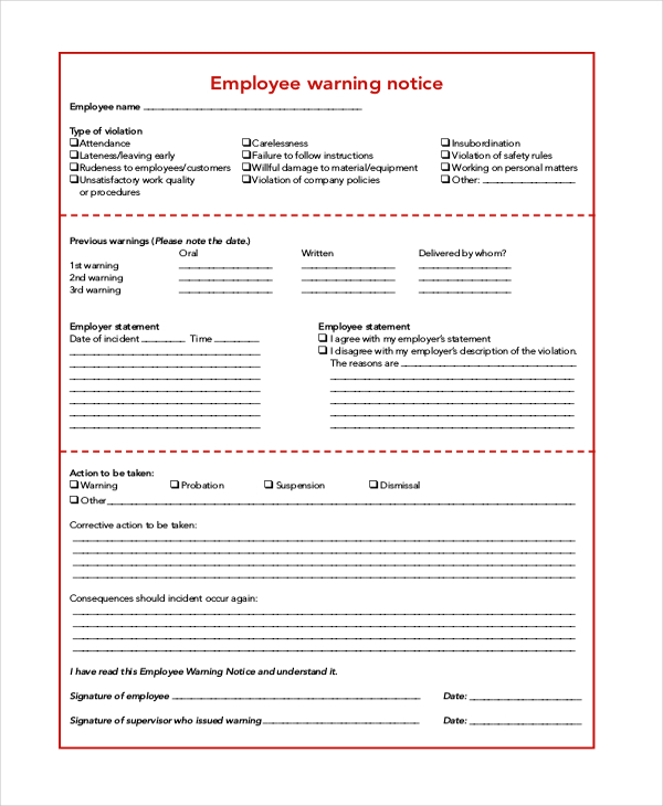 employee warning notice example