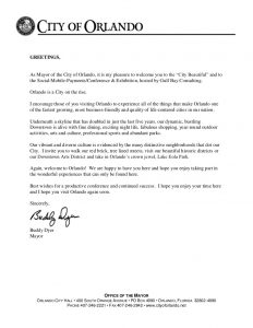 employee welcome letter social mobile payments welcome letter from orlando mayor buddy dyer