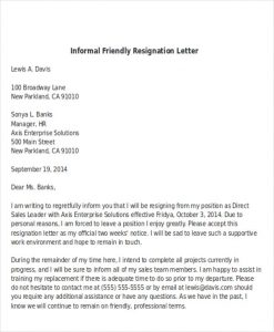 employee write up sample informal friendly resignation letter