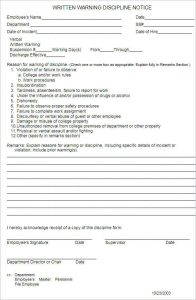 employee write ups templates employee warninig discipline notice form template