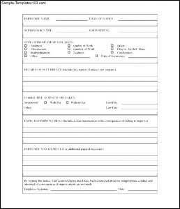 employee write ups templates free printable employee write up form