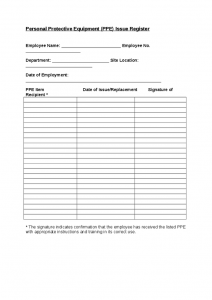 employees loan agreement a personal protective equipment ppe register for employees