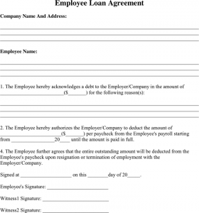 employees loan agreement employee loan agreement