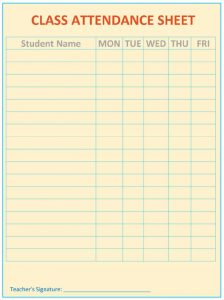 employees sign in sheet uncategorized very simple class attendance sheet template for classroom with days of school and brown background