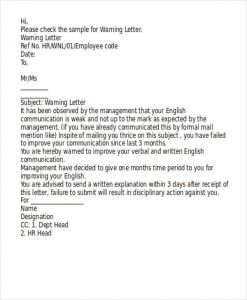 employees warning letter poor performance warning letter format