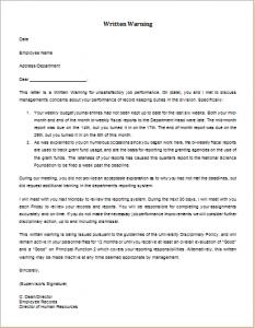 employees warning letter unsatisfactory job performance warning letter