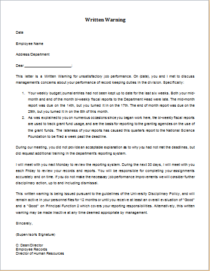 employees warning letter