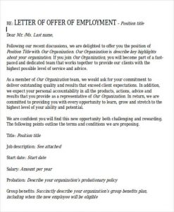 employment acceptance letter formal offer of employment letter