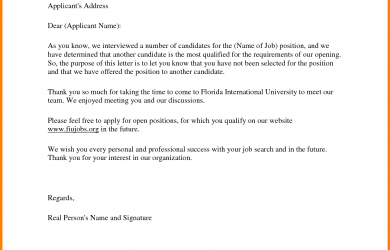 employment acceptance letter job rejection letter sample to applicant