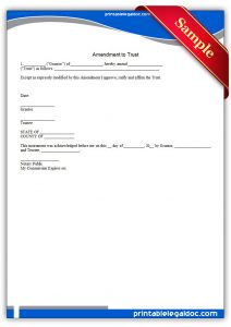 employment agreement form printable amendment to trust form