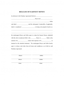 employment agreement form release of earnest money d