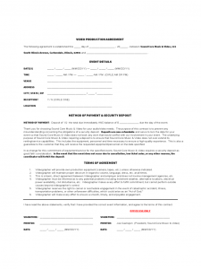 employment agreement form video production agreement form d