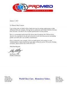 employment agreement sample promed ambulance recommendation letter ken kelley