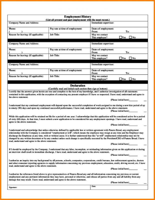 Employment Application Form Free Download Template Business