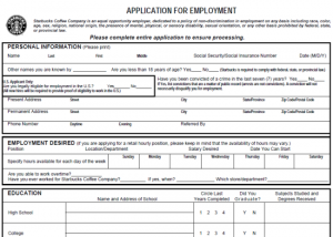 employment application form pdf print out starbucks job application form in pdf