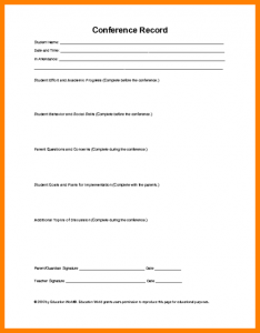 employment application forms parent teacher conference form template recordofconference thumb