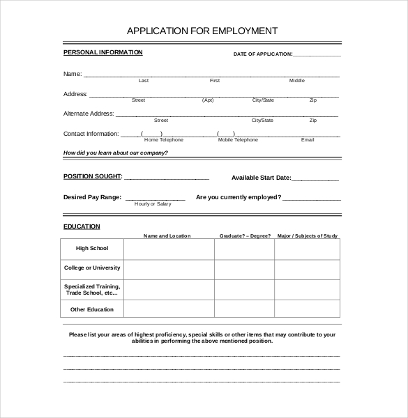 Printable employment application template zrom maxwellsz