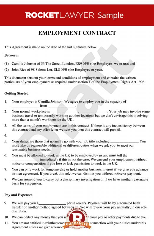 Employment Contract Sample  Template Business