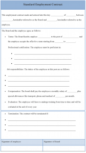 employment contract template standard employment contract template
