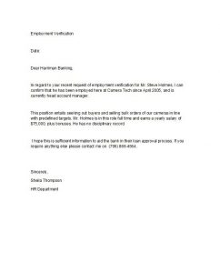 employment letter sample proof of employment letter