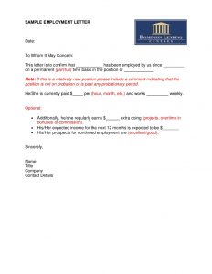 employment letter sample sample employment letter