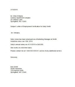 employment letter template proof of employment letter