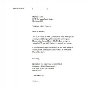 employment letter template proof of employment letter sample word printable