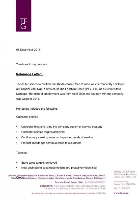 employment letters of recommendation