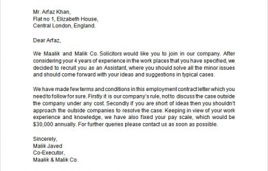 employment offer letter templates employment contract letter