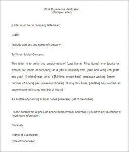 employment offer letter templates work experience verification template