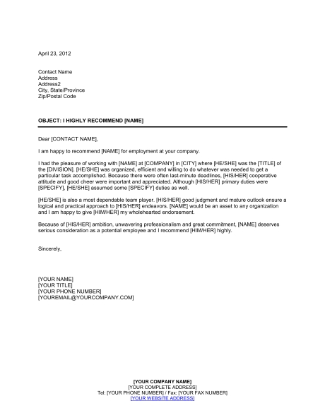 recommendation letter for job employment reference letter template business 24215