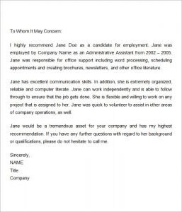 Awesome Recommendation Letter For A Employee Gallery   Resume .