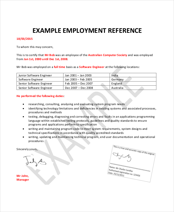 Employment Reference Letter  Format Of Recommendation Letter From Employer