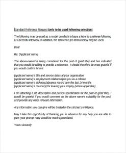 employment reference letter employment standard reference request letter