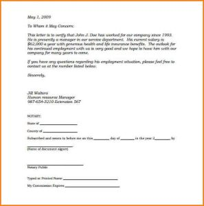 employment reference letter sample notarized statement sample notarized letter of employment template pdf printable