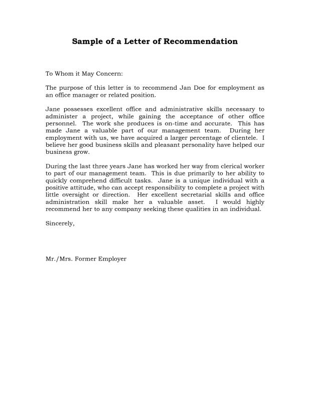 Employment Reference Letter Sample | Template Business