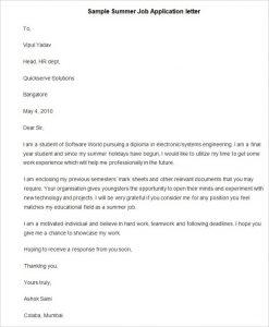 employment reference letter sample sample summer job application letter