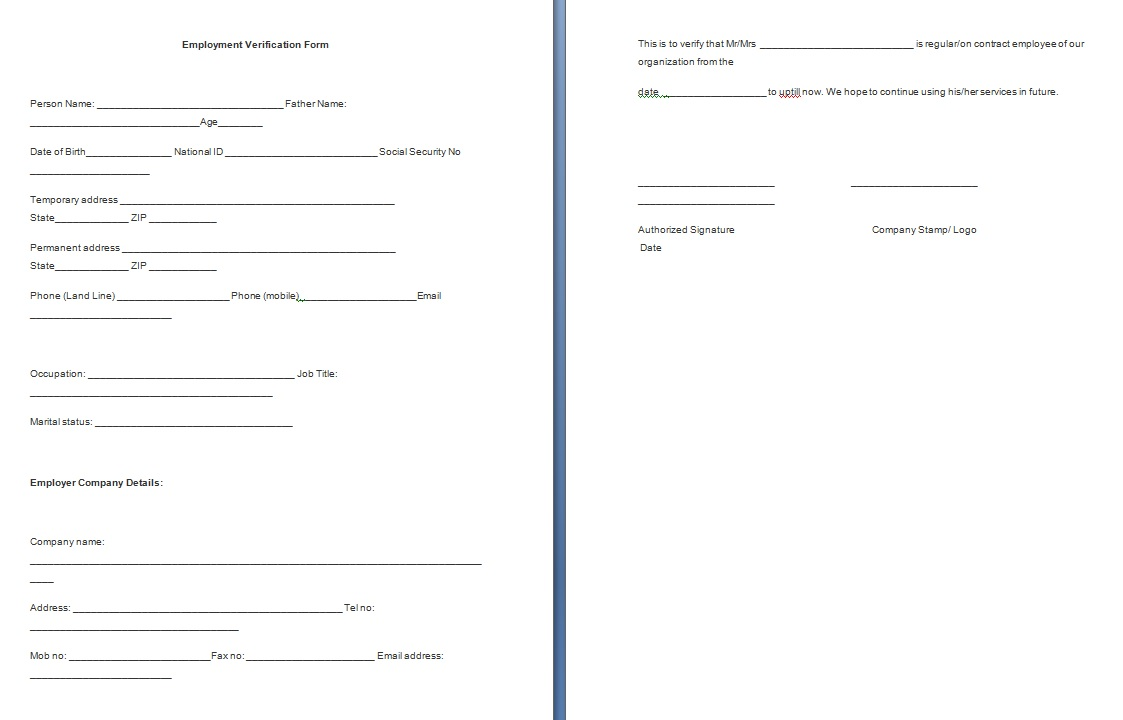 employment verification form template business