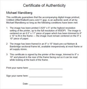 employment verification form templates sample certificate of authenticity format download