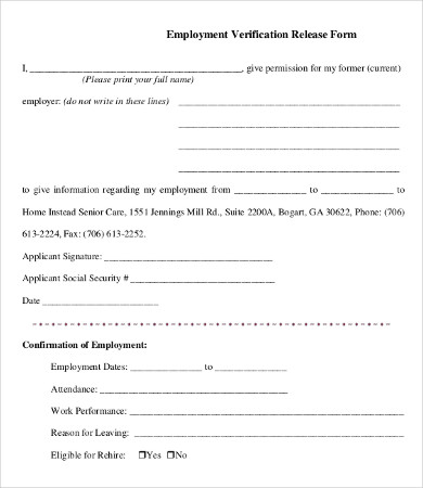 employment verification forms template template business. Black Bedroom Furniture Sets. Home Design Ideas