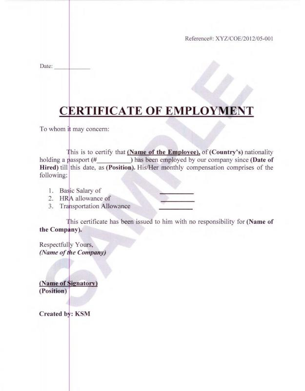 Employment Verification Letter For Visa Template Business