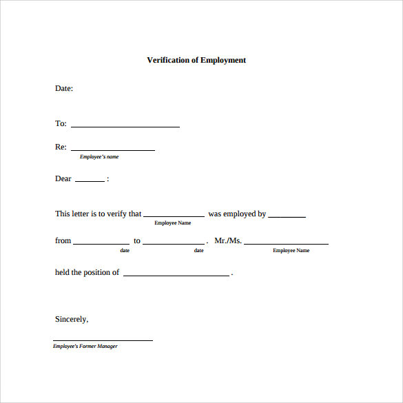 Employment Verification Letter Pdf  Blank Employment Verification Form