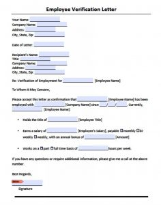 Sample Employment Verification Form