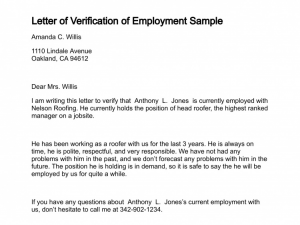 Employment Verification Letter Sample Of