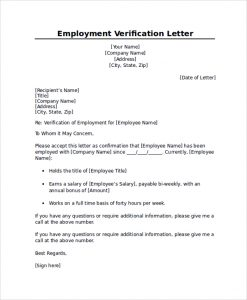 Employment verification letter sample template business employment verification letter sample professional employment verification letter altavistaventures Gallery