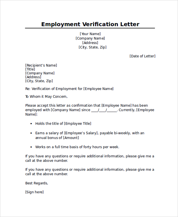 Employment verification letter sample template business employment verification letter sample spiritdancerdesigns Choice Image