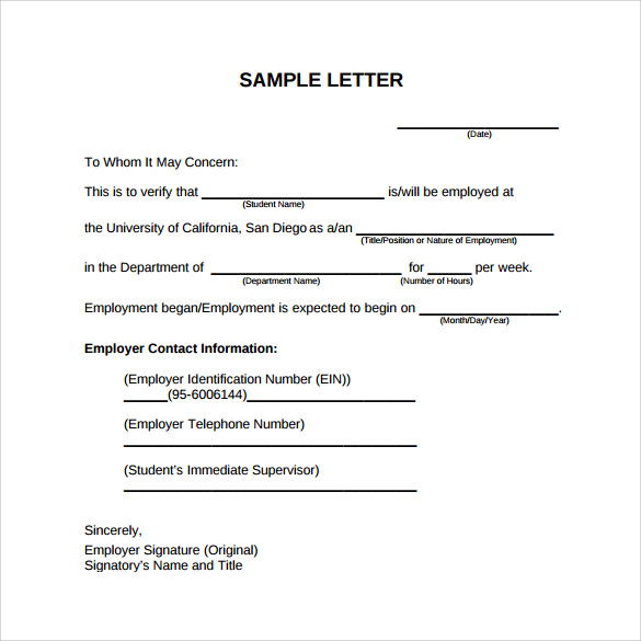Employment verification letter sample template business employment verification letter sample spiritdancerdesigns Images