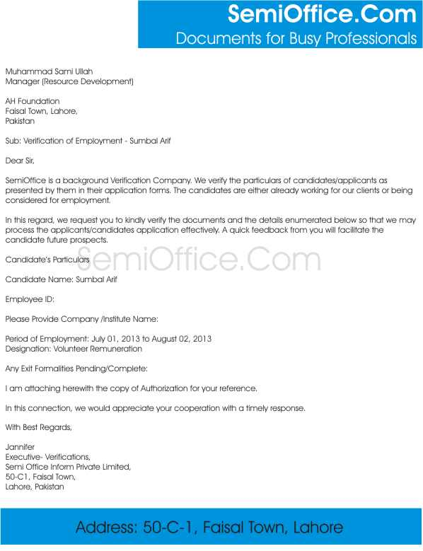 Employment Verification Letter Pattern  Employment Verification Request Form Template